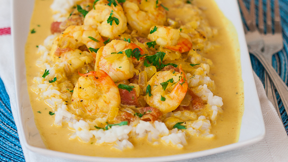 Make-Ahead Curried Coconut Quinoa With Shrimp And Basil ...