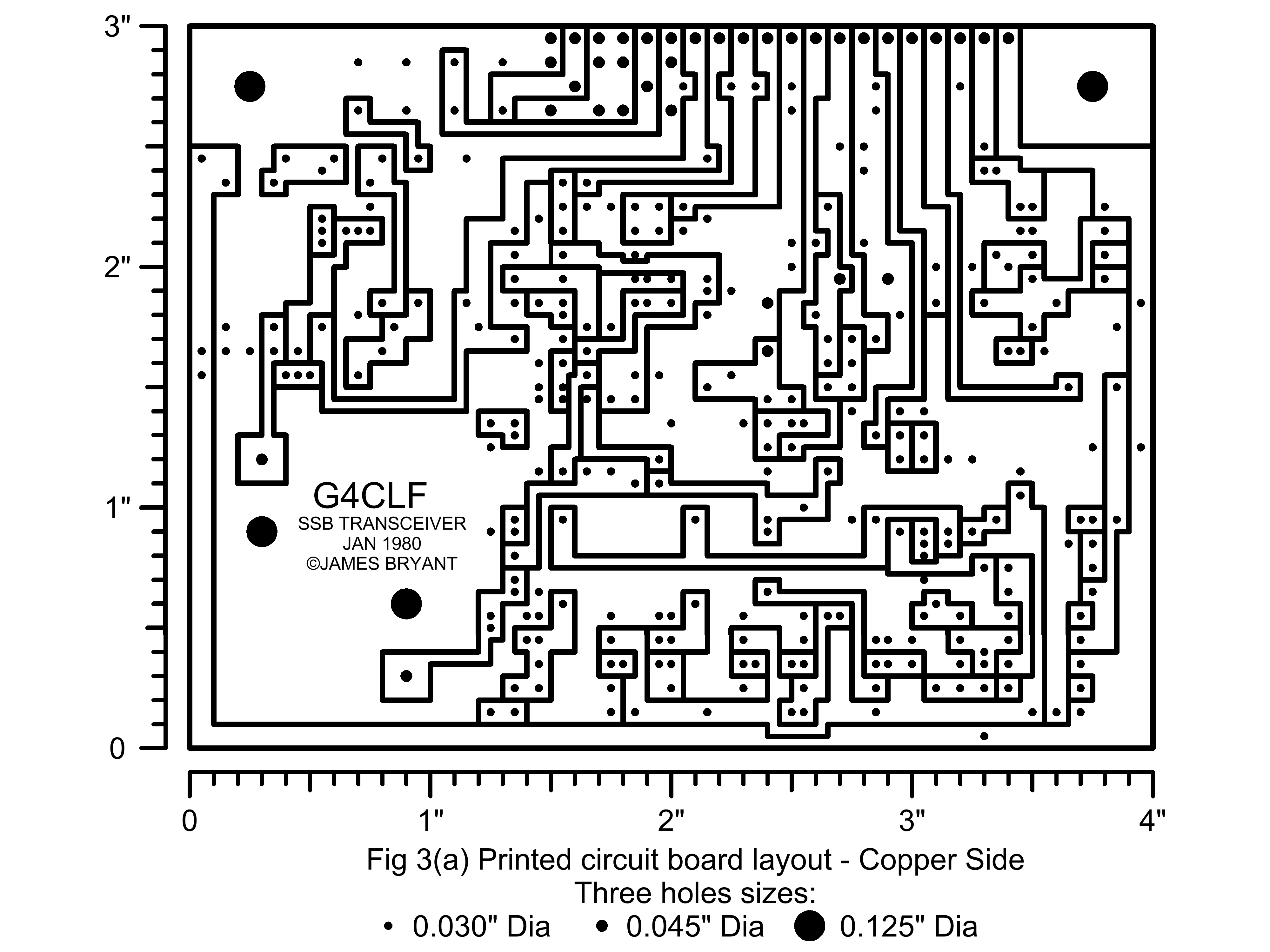 The G4clf Transceiver Board S Meter Circuit Diagram Printed Layout For This Is Shown In Fig 3 A And Component Placing B Drilling Detail